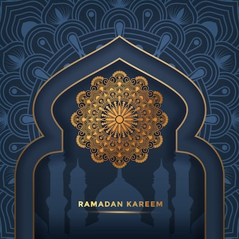 Fondo de lujo ramadan kareem mandala, tarjeta de felicitación
