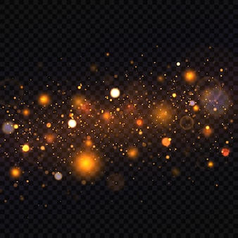 Fondo luminoso dorado festivo con luces de colores bokeh. partícula de polvo mágico espumoso.