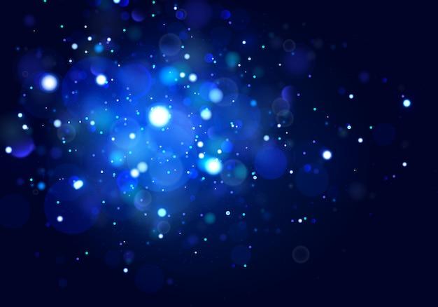 Fondo luminoso festivo azul y blanco, luces bokeh.