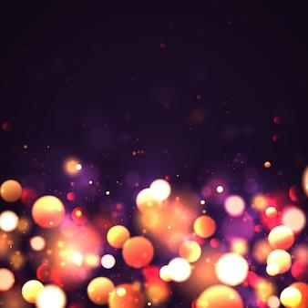 Fondo luminoso festivo púrpura y dorado con luces doradas coloridas bokeh. concepto de navidad tarjeta de felicitación de navidad. cartel de vacaciones mágicas, banner. noche oro brillante destellos resumen de luz