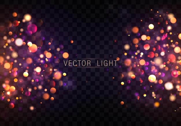 Fondo luminoso púrpura y dorado festivo con luces de colores dorados bokeh concepto de navidad tarjeta de felicitación de navidad banner de cartel de vacaciones mágicas destellos de oro brillante de noche resumen de luz vectorial