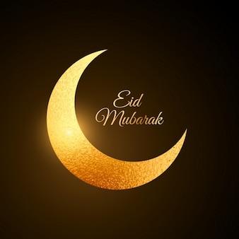 Fondo con luna dorada de eid mubarak