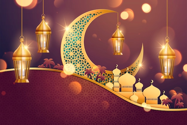 Fondo con luna tallada y mezquita en arte de papel.