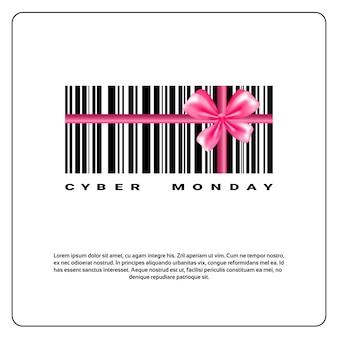 Fondo de lunes cibernético con código de barras y diseño de banner de venta de lazo rosa
