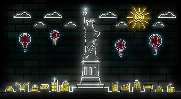 Fondo de luz de neón de viaje y viaje de nueva york y estados unidos