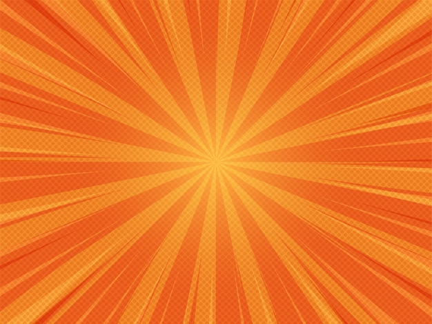 Fondo de luz solar de dibujos animados cómic abstracto verano naranja