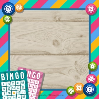 Fondo de madera con marco colorido de bingo