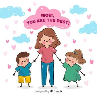 Fondo madre abrazando a sus hijos día de la madre