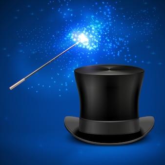 Fondo mágico de la navidad del entretenimiento del sombrero de copa de la vara y del vintage.