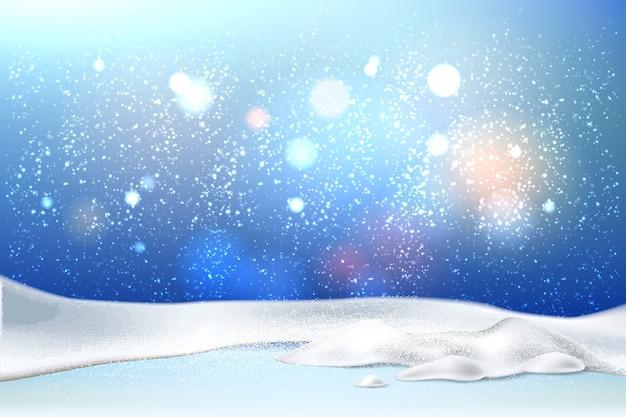 Fondo mágico de vacaciones de año nuevo de navidad con nieve realista
