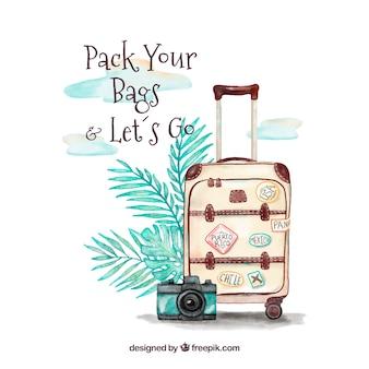 Fondo con maleta de viaje en acuarela