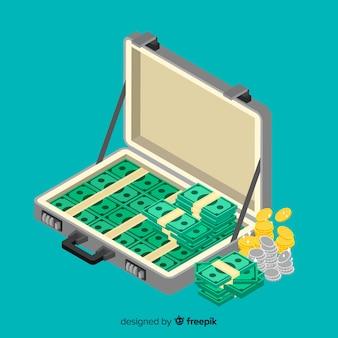 Fondo maletín con dinero isométrico