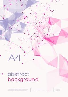 Fondo de malla abstracta 3d con círculos, líneas y formas triangulares