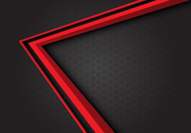 Fondo de malla de hexágono gris de dirección flecha roja.