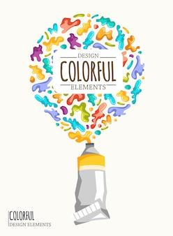 Fondo con manchas de colores y aerosoles en un blanco.