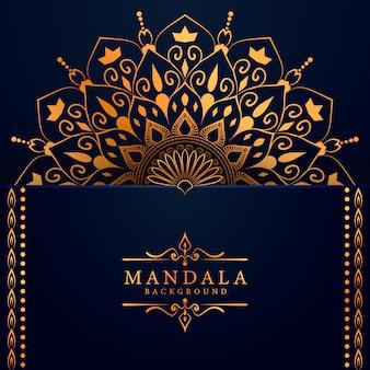 Fondo de mandala dorado de lujo con arabesco dorado estilo árabe islámico oriental