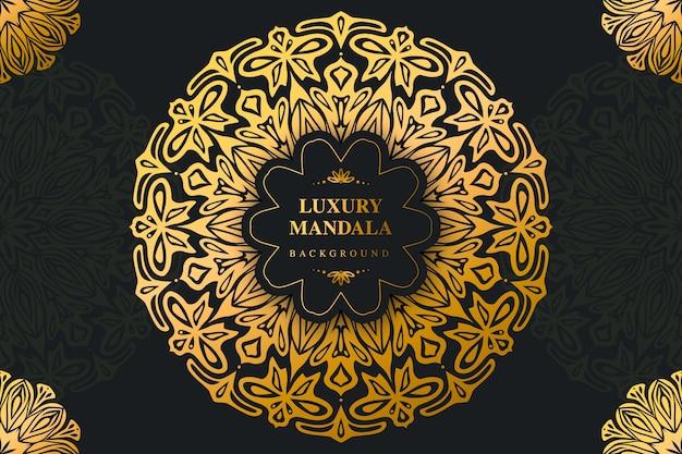 Fondo de mandala dorado y negro de lujo