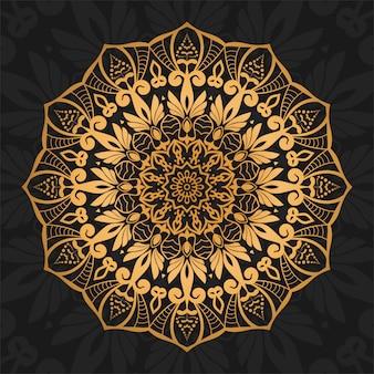 Fondo de mandala de lujo con arabescos dorados estilo oriental ornamental