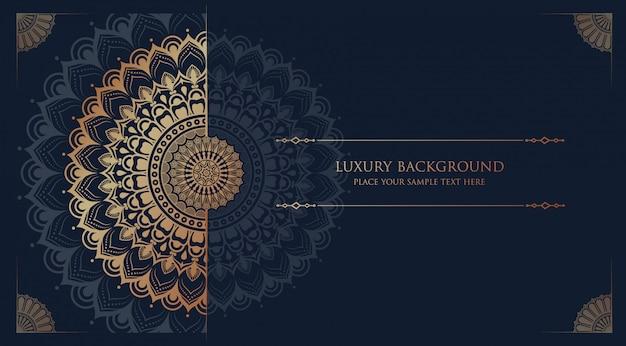Fondo de mandala de lujo con arabescos dorados