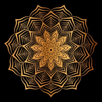 Fondo de mandala de lujo creativo con arabesco dorado