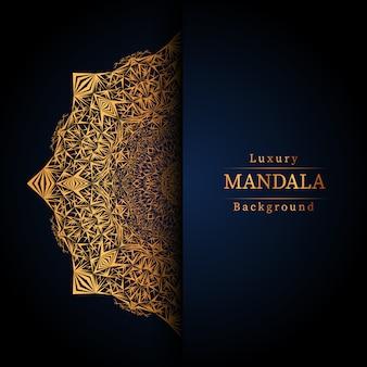 Fondo de mandala de lujo creativo con decoración arabesca dorada