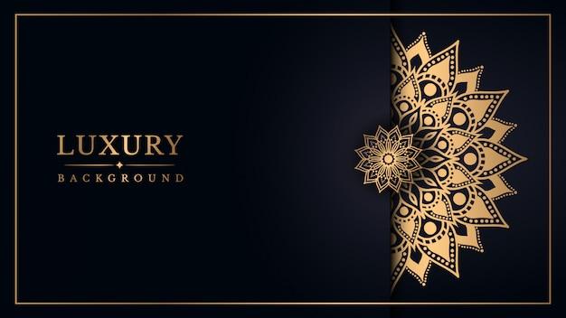 Fondo de mandala de lujo con diseño arabesco dorado estilo árabe oriental