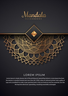 Fondo de mandala de lujo con estampado floral dorado