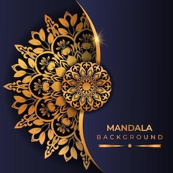 Fondo de mandala de lujo con estilo árabe de color dorado