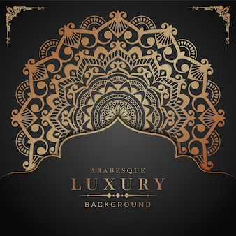 Fondo de mandala de lujo con estilo arabesco dorado