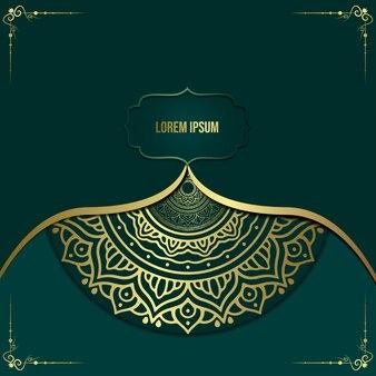 Fondo de mandala de lujo con estilo oriental arabesco dorado.