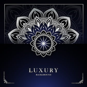 Fondo de mandala de lujo moderno con patrón arabesco plateado estilo oriental islámico árabe