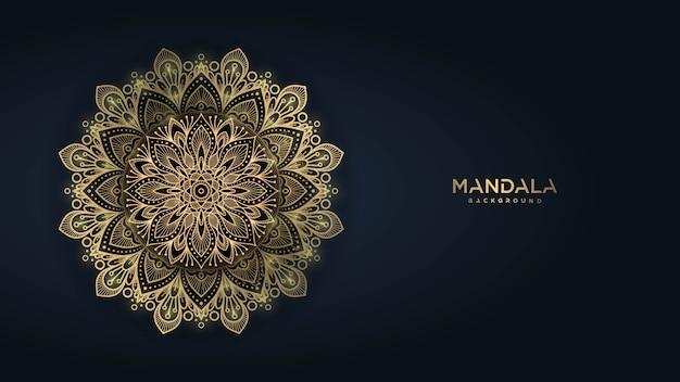 Fondo de mandala de lujo con patrón arabesco dorado estilo oriental islámico árabe