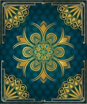 Fondo de mandala de lujo con patrón arabesco ornamental dorado