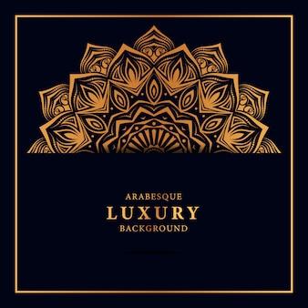 Fondo de mandala de lujo con patrón islámico arabesco dorado