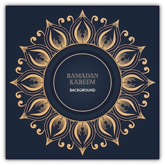 Fondo de mandala de ramadán con color oro de lujo.
