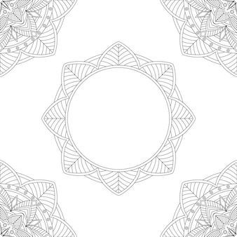 Fondo con mandalas florales, libro para colorear, ilustración vectorial