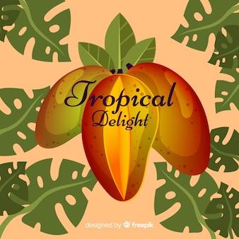 Fondo mango y hojas dibujado a mano