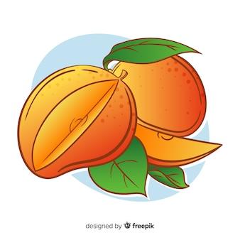Fondo mango y hojas dibujados a mano