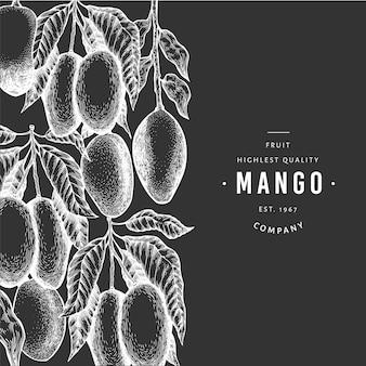 Fondo de mango mano dibuja la ilustración de frutas exóticas de vector en pizarra. estilo tropical grabado de frutas. plantilla de diseño de comida vintage.
