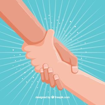 Fondo de mano amiga para apoyar en estilo plano