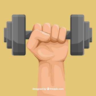 Fondo de mano sosteniendo una pesa