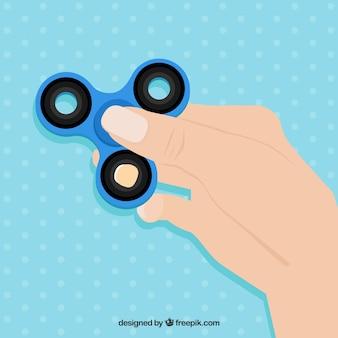 Fondo de mano con spinner azul