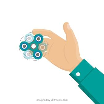 Fondo de mano con spinner girando