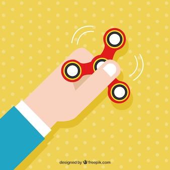 Fondo de mano con spinner rojo girando