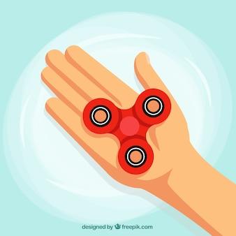Fondo de mano con spinner rojo