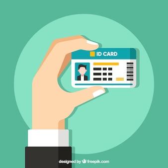 Fondo de mano sujetando tarjeta de identidad
