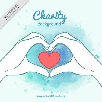 Fondo de manos dibujadas a mano de acuarela con un corazón