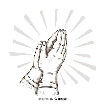 Fondo manos rezando dibujadas a mano
