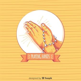 Fondo manos rezando a rayas
