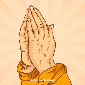 Fondo manos rezando rayos de sol